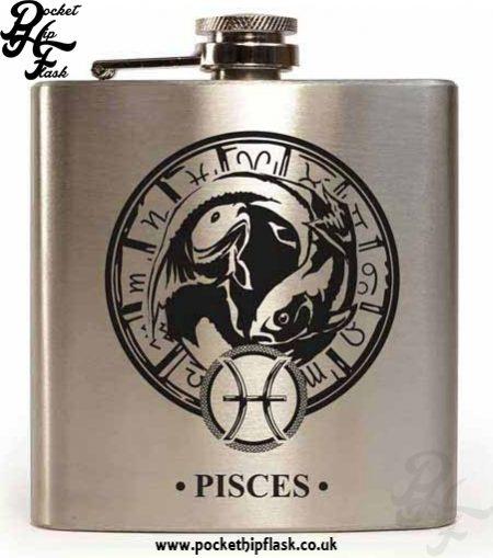 Silver Pisces Star Sign 6oz Hip Flask