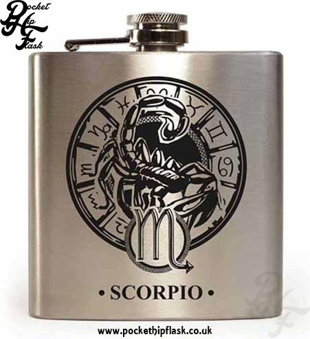 Silver Scorpio Star Sign 6oz Hip Flask