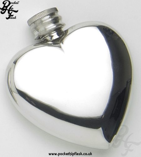 3oz Pewter Heart Shaped Hip Flask