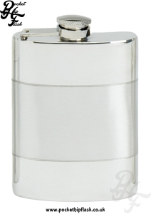 4oz Satin Band Pewter Hip Flask with captive top
