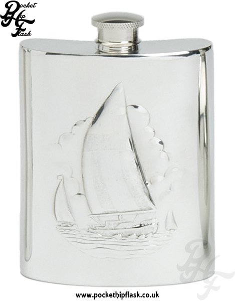 6oz Pewter Boating Hip Flask