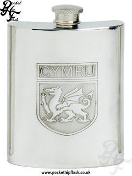 6oz Pewter Cymru Wales Hip Flask