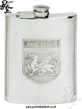 6oz Pewter Cymru Wales Hip Flask with Captive Top