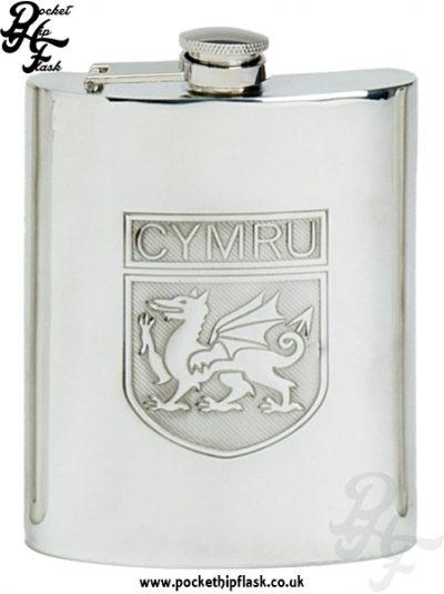 6oz Pewter Cymru Wales Hip Flask with Captive Top
