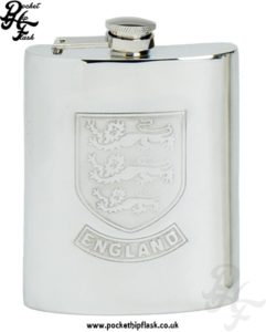 6oz Pewter England Hip Flask with captive top