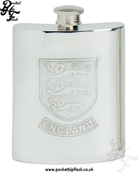 6oz Pewter England Hip Flask