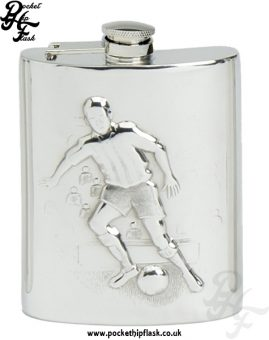 6oz Pewter Football Hip Flask with Captive Top