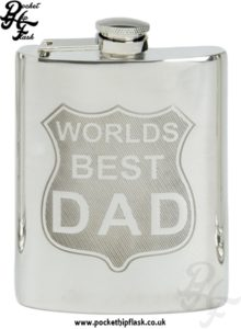 6oz Pewter Hip Flask Worlds Best Dad with Captive top