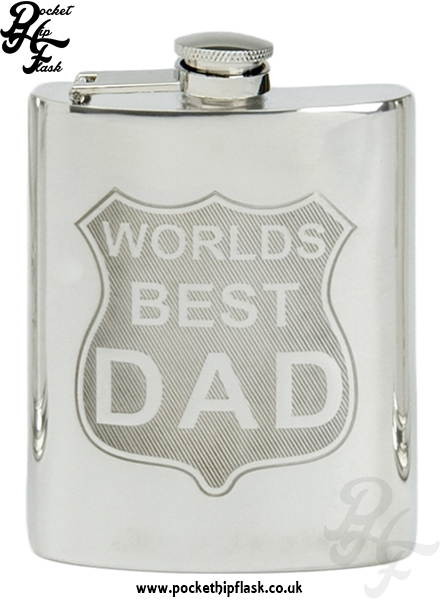 Pewter Hip Flask Worlds Best Dad 6oz with captive top ...