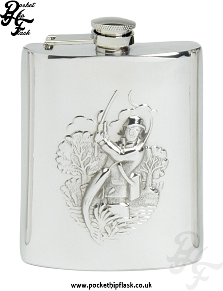 6oz Pewter Hip Flask with Fishing Scene with captive top