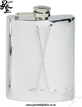 6oz Pewter Hip Flask with Golf Clubs and captive top