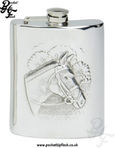 6oz Pewter Hip Flask with Horse and captive top