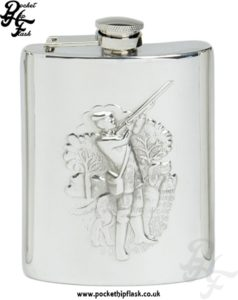 6oz Pewter Hip Flask with Shooting Scene with captive top