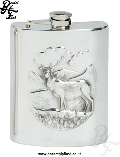 6oz Pewter Hip Flask with Stag and captive top