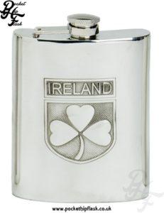 6oz Pewter Irish Hip Flask with Captive Top