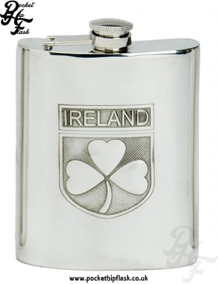 6oz Pewter Irish Hip Flask with Captive Top