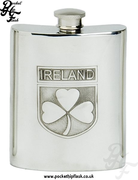 6oz Pewter Irish Shamrock Hip Flask