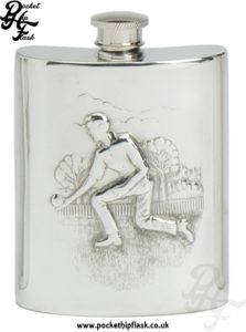 6oz Pewter Lawn Bowls Hip Flask
