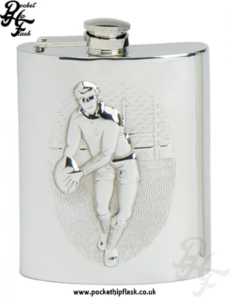 6oz Pewter Rugby Hip Flask with captive top