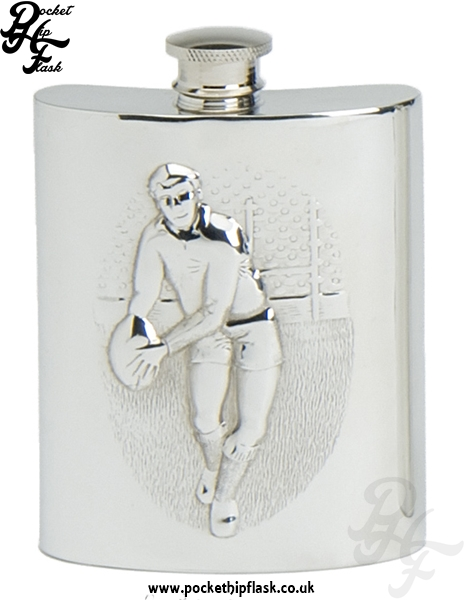 6oz Pewter Rugby Hip Flask