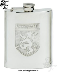 6oz Pewter Scotland Hip Flask with Captive Top