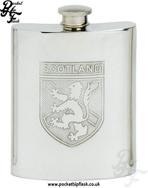 6oz Pewter Scotland Hip Flask