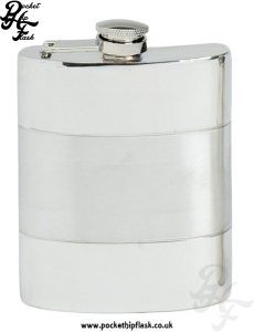 6oz Satin Band Pewter Hip Flask with captive top