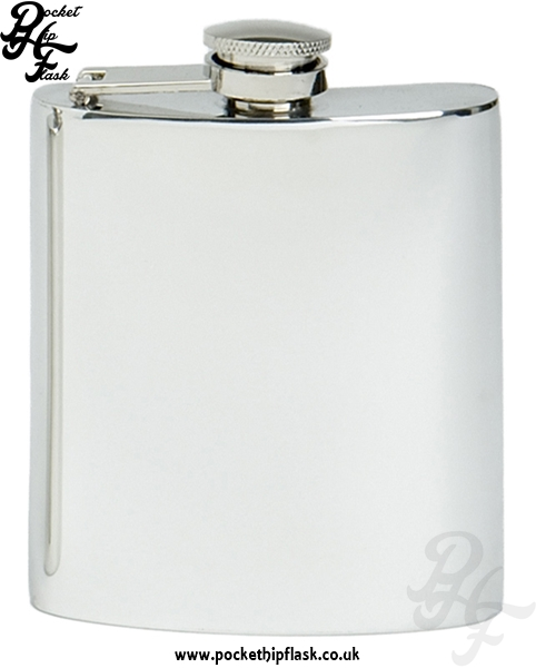 8oz Plain Pewter Hip Flask with Captive Top