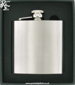 plain 6oz brushed stainless steel flask
