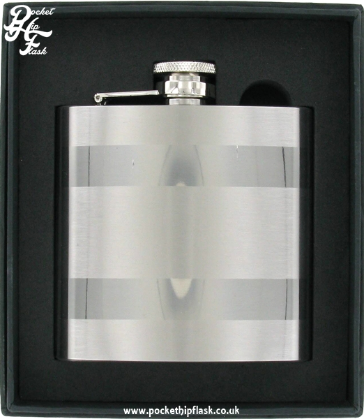 6oz Satin Band Stainless Steel Hip Flask