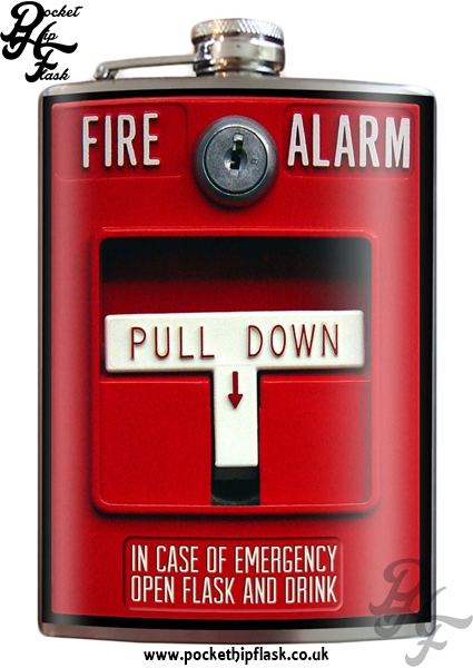 Fire Alarm 8oz Stainless Steel Hip Flask