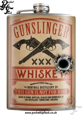 Gunslinger Whiskey 8oz Stainless Steel Hip Flask
