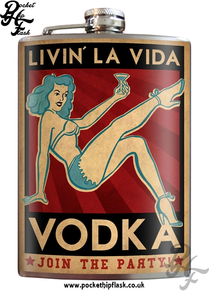 Livin La Vida Vodka 8oz Stainless Steel Hip Flask