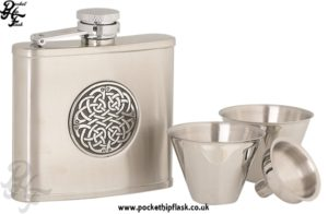 4oz Stainless Steel Cup Set with Round Celtic Badge