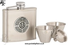 4oz Stainless Steel Cup Set with Round Celtic-Thistle Badge