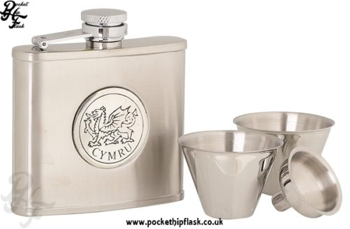 4oz Stainless Steel Cup Set with Round 'Cymru' Wales Badge