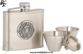 4oz Stainless Steel Cup Set with Round Scotland Badge