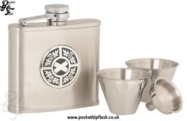 4oz Stainless Steel Cup Set with Thistle and Saltire Badge