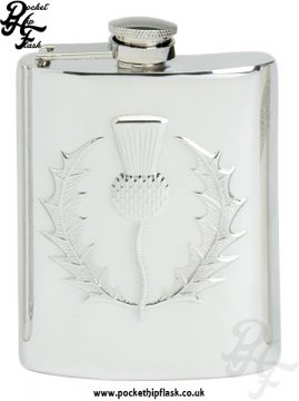 6oz Pewter Hip Flask with Scottish Thistle Captive Top