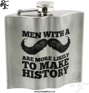 4oz Stainless Steel Moustache shaped hip flask