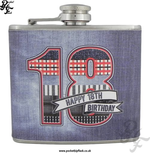 5oz Stainless Steel Hip flask Denim Collection Happy 18th