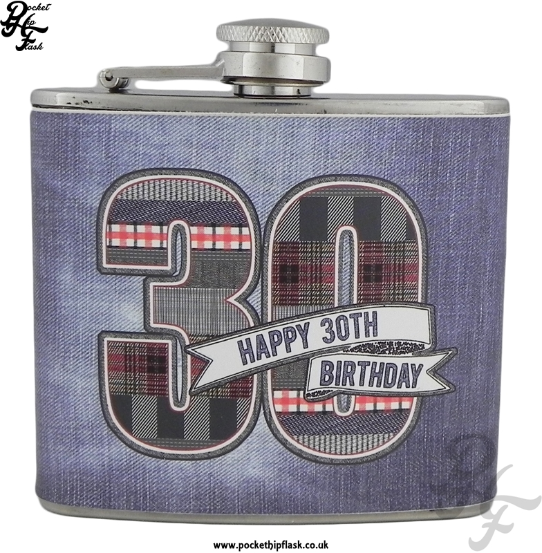 5oz Stainless Steel Hip flask Denim Collection Happy 30th