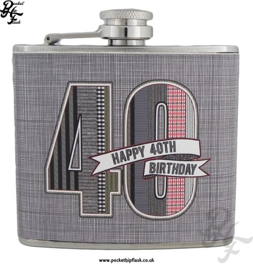 5oz Stainless Steel Hip flask Denim Collection Happy 40th