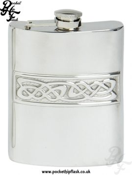 6oz Pewter Hip Flask with Celtic Casting and Captive Top