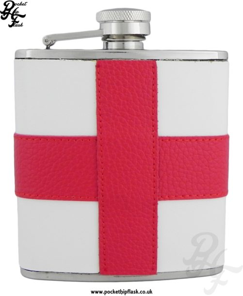 6oz Stainless Stain Leather Encased St George's Cross Hip Flask