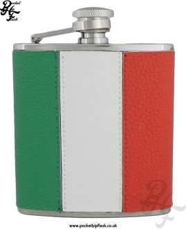 6oz Stainless Steel Irish Flag Leather Encased Hip Flask