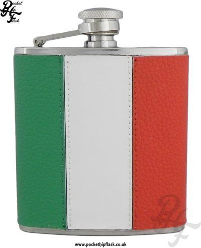 6oz Stainless Steel Irish Flag Leather Encased Hip Flask