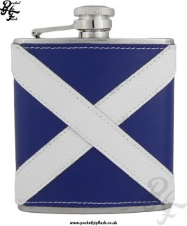 6oz Stainless Steel Scottish Flag Leather Encased Hip Flask