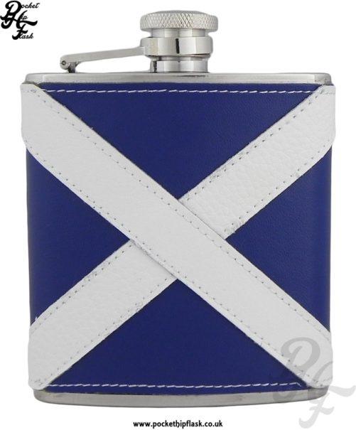 6oz Stainless Steel Scottish Flag Leather Encased Hip Flask