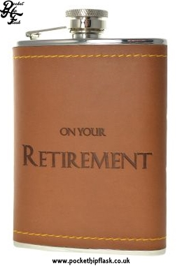 On Your Retirement 6oz Stainless Steel Letherette Hip Flask